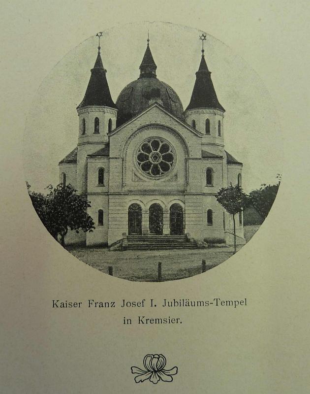 Nově vystavěná kroměřížská Jubilejní synagogy Františka Josefa I. (převzato z A. Frankla-Grüna: Geschichte der Tempelbaues in Kremsier. Kremsier 1910).